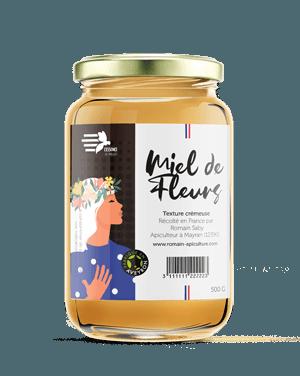 Pot de miel de la marque l'essence des abeilles, texture crémeuse, produit par Romain apiculture