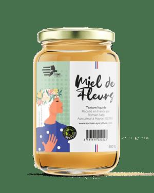 Pot de miel liquide de la marque l'essence des abeilles, produit par Romain apiculture