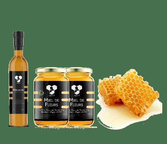 Coffret des Gourmets composé d'un mielaigre, deux pots de miel, et un miel en brèche