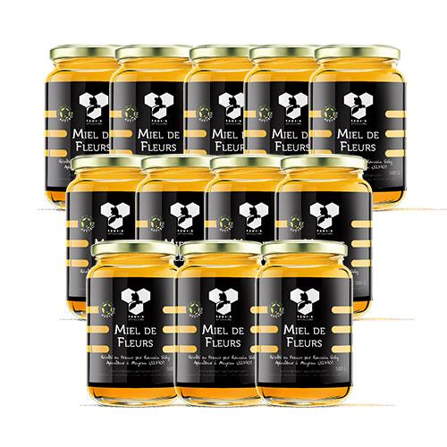 Miel de fleurs : carton de 12 pots