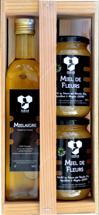 Coffret des épicuriens composé d'un mielaigre, deux pots de miel