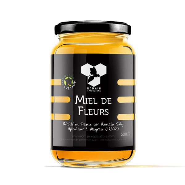 Pot miel de fleurs en 500g commercialisé par Romain, Apiculteur en Aveyron