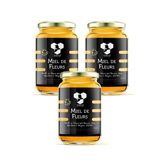 "Coffret ""accro au miel"" composé de 3 pots de miel en 500g"