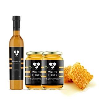 Coffret des Gourmets composé d'un mielaigre, deux pots de miel