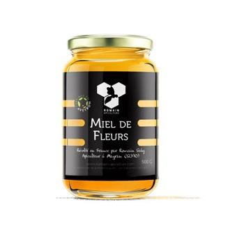 Miel de fleurs, pot de 500g, produit par Romain Apiculture
