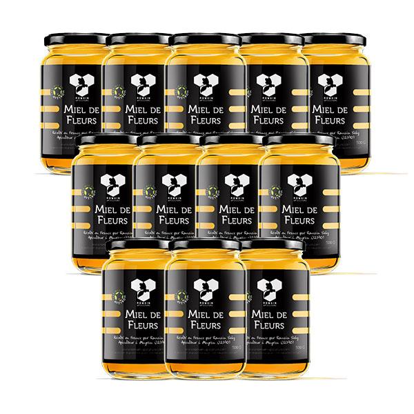 Carton de 12 pots de miel crémeux de la marque romain apiculture